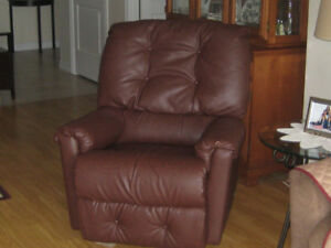 Brown leather rocker/recliner chair