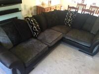 DFS Black Grey Shannon Corner Sofa Couch Suite