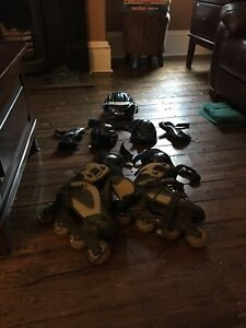 Roller blades, helmet and pads