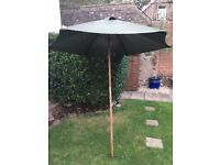 GARDEN PARASOL – WOODEN POLE – GREEN COLOUR - ONLY USED SEVERAL TIMES - £10.00
