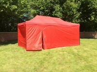 Gazebo awnings 3m x 4.5m or 3m x 6m red or blue or green, with full sides and door new boxed