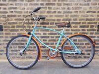 Pashley Unisex Custom-Build Bike - Turquoise and Orange, 5 speed Californian cruiser, Brooks saddle