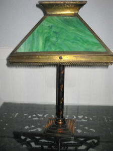 ANTIQUE ARTS & CRAFT TABLE LAMP with JAPANNED FINISH REDUCED