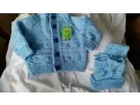 Baby boy cardigan /booties set
