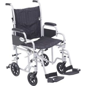 Drive Medical 20-inch Poly Fly Light Weight Transport Chair Whee