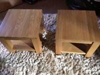 2 Solid oak coffee/side tables