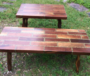Important late 60's Wood and Acrylic Rustic Adirondack tables