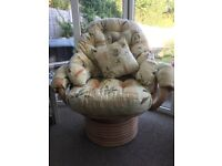 Wicker Conservatory Lounger Swivl Chair Cushions Included and Storage Box
