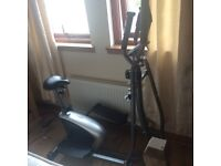 Crosstrainer/ bike. Includes heart rate monitor cal used distance and speed. Like new.