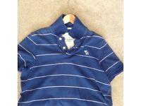 Men's Blue & White Stripe Abercrombie & Fitch Polo T-Shirt - Size Large