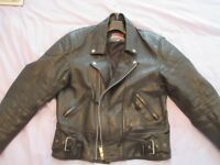 Leather Biker Jacket - Used but Clean. Size 42""