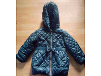 Baby Girl's Black Quilted Hoodie Hoody Zipped Coat from Next.Age 1.5-2 Years.