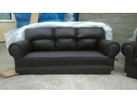Brand New Brown Leather 3-2-1 Seater Sofas, Unused Still In Wrappers, Can Deliver £330