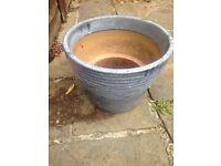 Light blue glazed plant pot