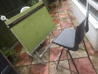 Heavy architects drawing table & chair