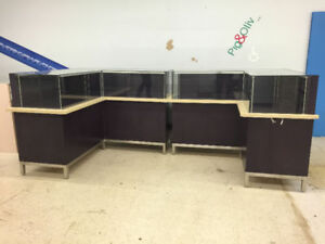 Custom Made L Shaped Display Cabinets