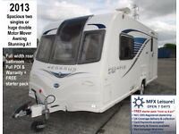 2013 BAILEY PEGASUS GT65 GENOA – SPACIOUS TWO LARGE SINGLES OR HUGE DOUBLE - MOTOR MOVER – AWNINGetc