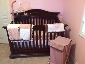 Crib bedding set, mobile, hamper and change table covers