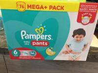 Size 6 pampers baby dry nappies