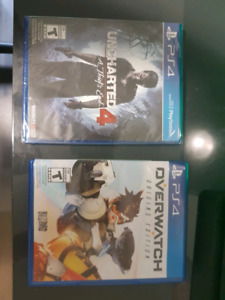 Overwatch (mint condition) Uncharted 4 (sealed) for PS4