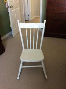 Medium Sized Solid Wood Rocking Chair and Childs Rocking Chair