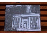 New Unique black and white canvas print picture The old shop 30cm x 40cm