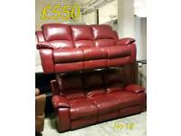 Red leather 3 + 3 seater sofa recliner