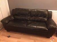 Large 3 seater sofa black faux leather