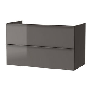 Ikea GODMORGON Sink Cabinet with 2 Drawers - High Gloss Gray