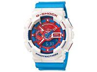 Casio G-Shock White, Red & Blue Analogue Digital GA-110AC-7A Men's Watch