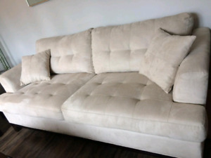 Micro suede couch, loveseat and chair. BEIGE