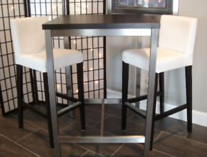IKEA Utby bar table with STAINLESS STEEL legs & 2 stools