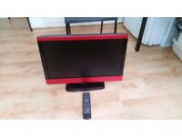 Technika 23-231BR 23 inch HD Ready 1080p LCD TV DVD Combi and USB Player with Freeview-Red