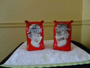 Vintage Salt and Pepper Shakers ....Regal China Farm Red Sheep F