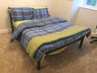 Double Bed, 4ft6, Dark Grey Metal Frame with Wooden inserts, Wooden Slats, very good condition