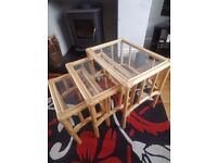 Wicker tables with glass tops - nest of 3