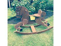Antique vintage heals wooden rocking horse