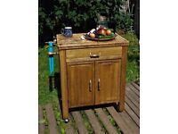Kitchen island or grill cart, up cycled, handmade, table, table on wheels, cabinet, cutlery