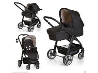 NEW HAUCK LACROSSE TRAVEL SYSTEM PRAM PARENT FACING PUSHCHAIR CARSEAT CARRYCOT RAINCOVER DOTS BLACK