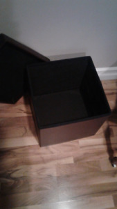 Leather cube storage container
