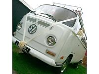 Beautiful White 1970's VW Early Bay Campervan for Wedding Hire Suffolk