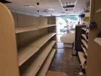 Shop shelves nearly new to cover 750 sq ft,plus 4 mtr gandola shelving