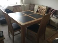Light oak square table and 4 chairs