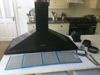 Rangemaster LEIHDC110BC Black with Chrome Trim 110cm Chimney Hood