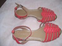 Ladies flat Red Sandals size 5 plus pair in Tan size 5 NEW