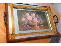 Vintage Mirrored Wood Tray With Handles