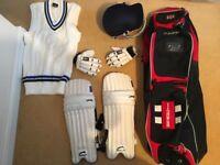 Gray Nicholls cricket bag and helmet, Slazenger cricket pads and gloves, Cricket Jumper. VGC.