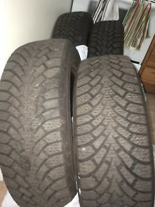 Set of like-new 225/60/17 Goodyear Nordic winter tires