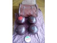 Antique vintage lawn bowls