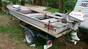 14 ft Sylvan fishing boat, 6 HP Johnson, and trailer